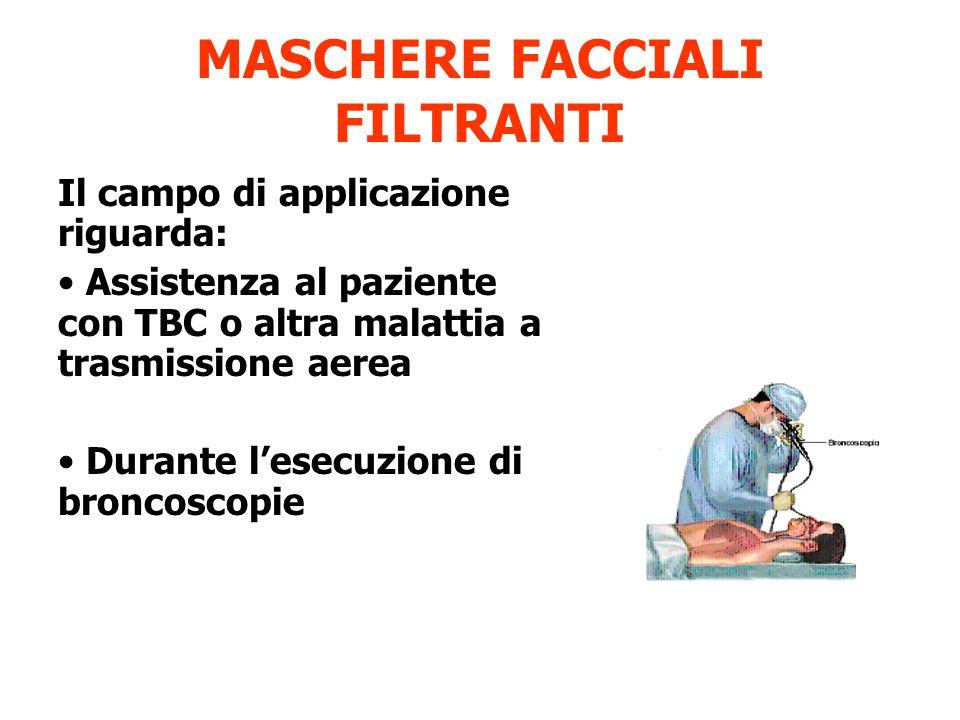 MASCHERE FACCIALI FILTRANTI Il campo di applicazione riguarda: Assistenza al paziente con TBC o altra malattia a trasmissione aerea Durante l'esecuzione di broncoscopie