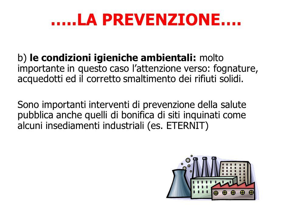 …..LA PREVENZIONE…. b) le condizioni igieniche ambientali: molto importante in questo caso l'attenzione verso: fognature, acquedotti ed il corretto sm