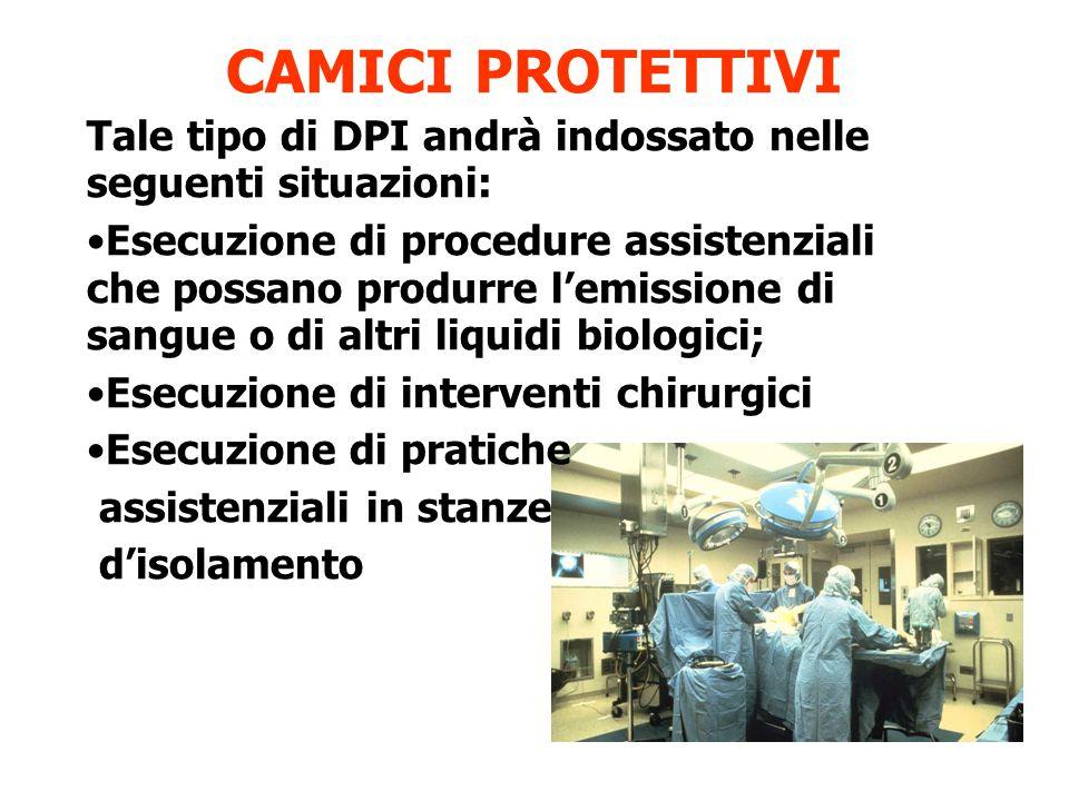 CAMICI PROTETTIVI Tale tipo di DPI andrà indossato nelle seguenti situazioni: Esecuzione di procedure assistenziali che possano produrre l'emissione di sangue o di altri liquidi biologici; Esecuzione di interventi chirurgici Esecuzione di pratiche assistenziali in stanze d'isolamento