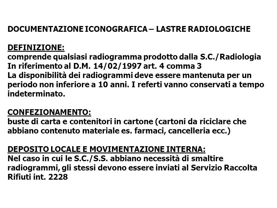DOCUMENTAZIONE ICONOGRAFICA – LASTRE RADIOLOGICHE DEFINIZIONE: comprende qualsiasi radiogramma prodotto dalla S.C./Radiologia In riferimento al D.M. 1
