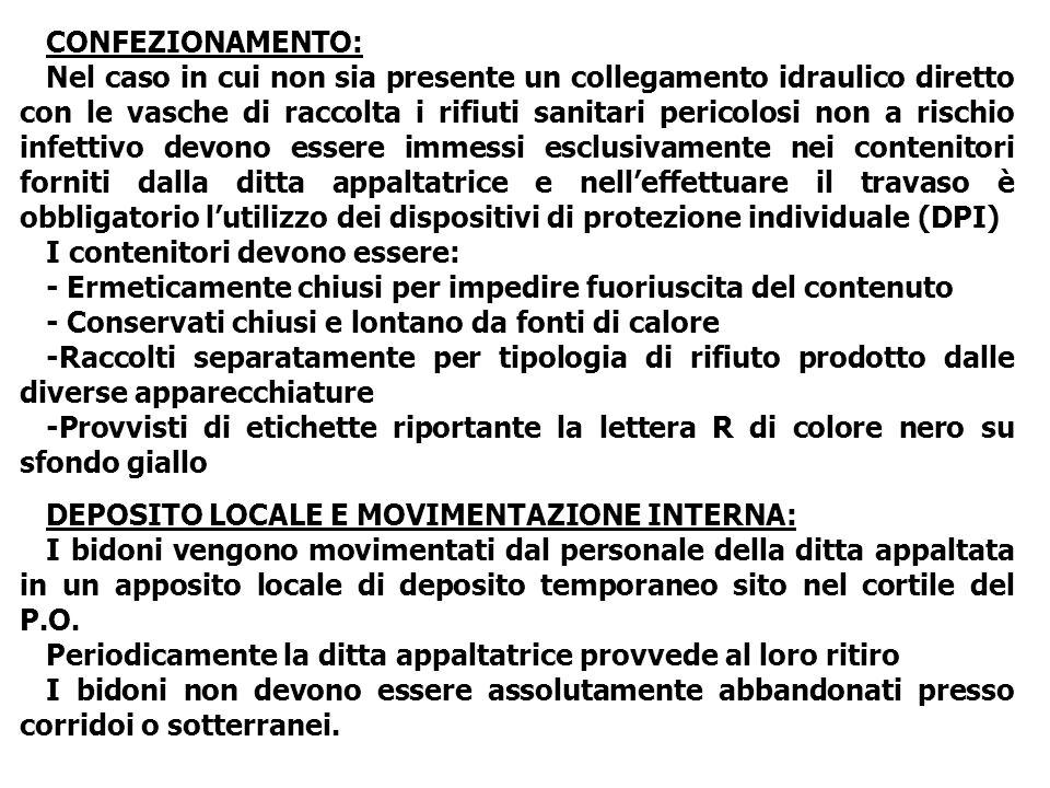 CONFEZIONAMENTO: Nel caso in cui non sia presente un collegamento idraulico diretto con le vasche di raccolta i rifiuti sanitari pericolosi non a risc