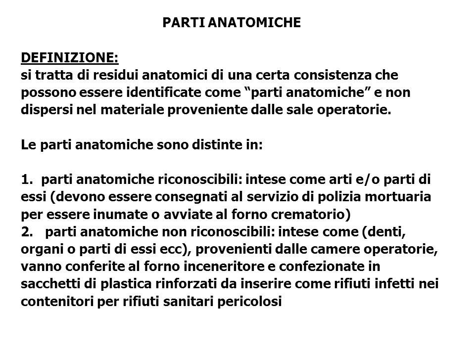 PARTI ANATOMICHE DEFINIZIONE: si tratta di residui anatomici di una certa consistenza che possono essere identificate come parti anatomiche e non dispersi nel materiale proveniente dalle sale operatorie.