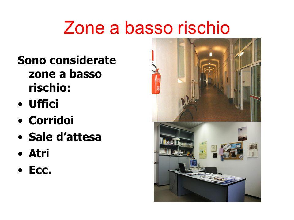 Zone a basso rischio Sono considerate zone a basso rischio: Uffici Corridoi Sale d'attesa Atri Ecc.