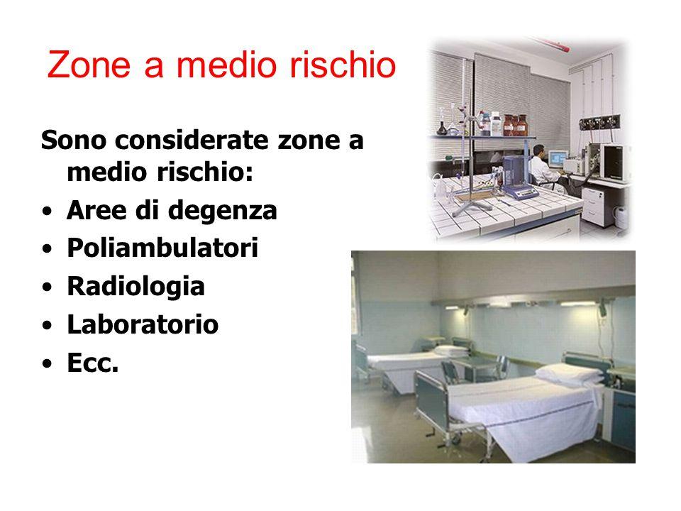 Zone a medio rischio Sono considerate zone a medio rischio: Aree di degenza Poliambulatori Radiologia Laboratorio Ecc.