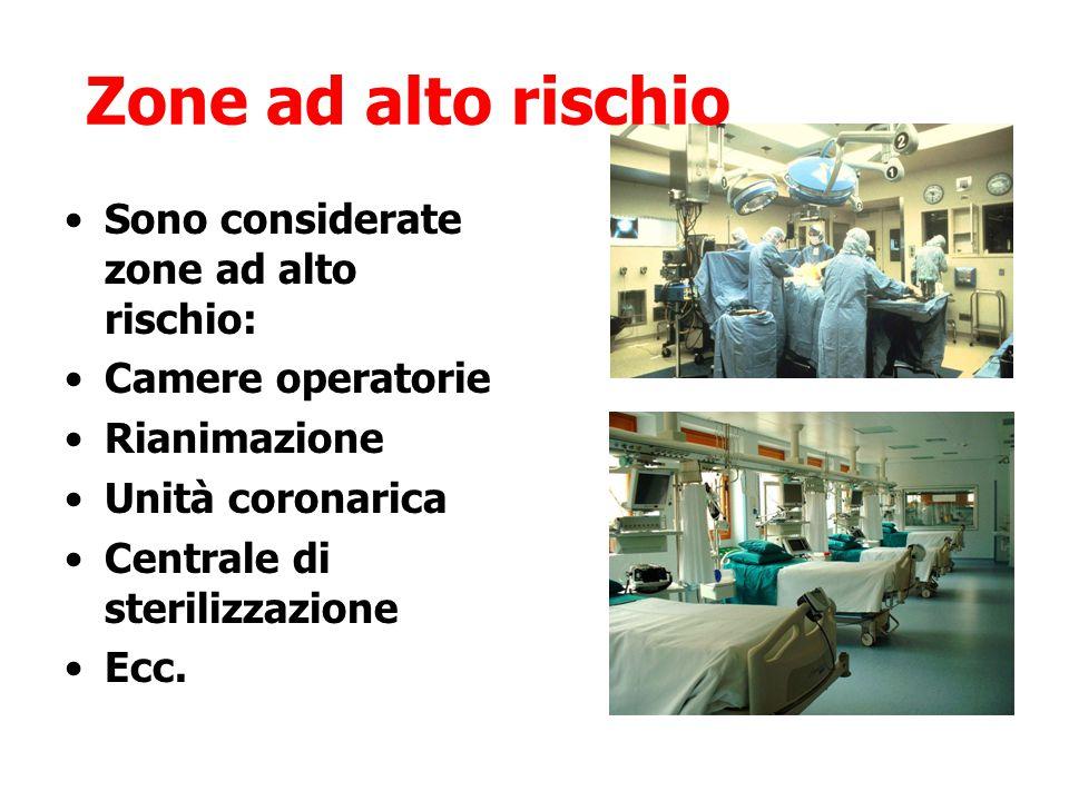 Sono considerate zone ad alto rischio: Camere operatorie Rianimazione Unità coronarica Centrale di sterilizzazione Ecc. Zone ad alto rischio