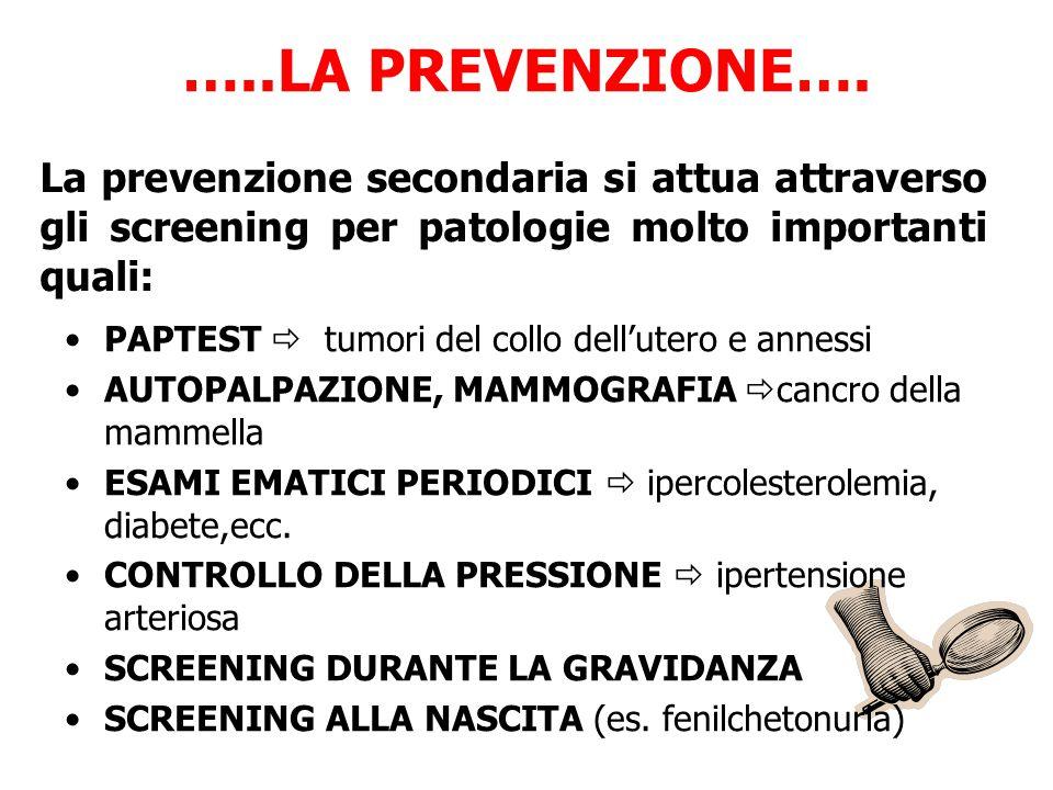 …..LA PREVENZIONE…. La prevenzione secondaria si attua attraverso gli screening per patologie molto importanti quali: PAPTEST  tumori del collo dell'