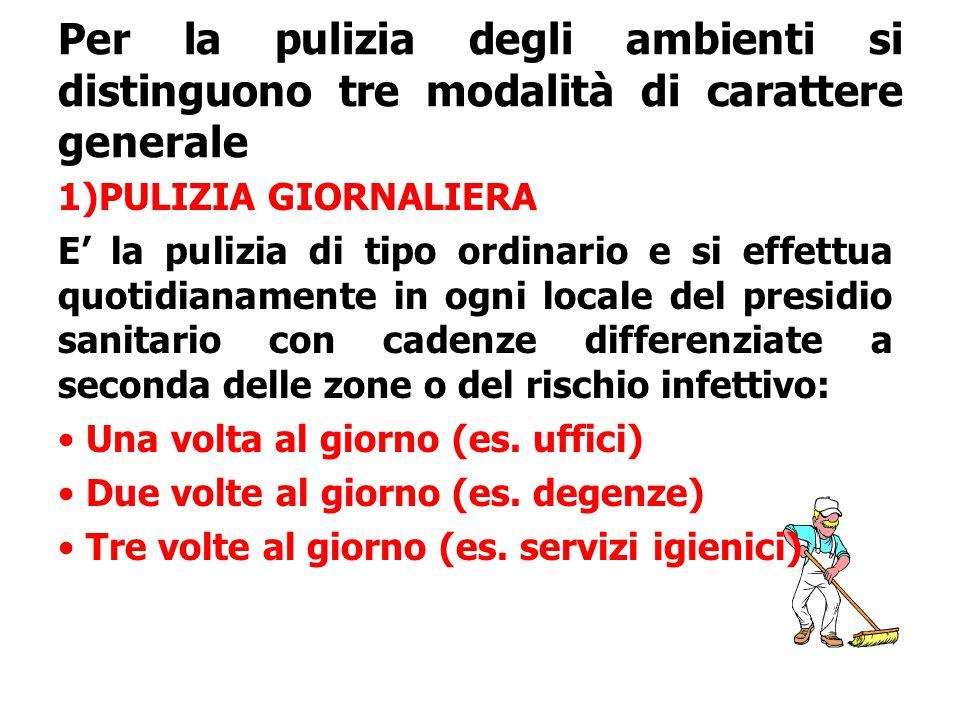 Per la pulizia degli ambienti si distinguono tre modalità di carattere generale 1)PULIZIA GIORNALIERA E' la pulizia di tipo ordinario e si effettua qu
