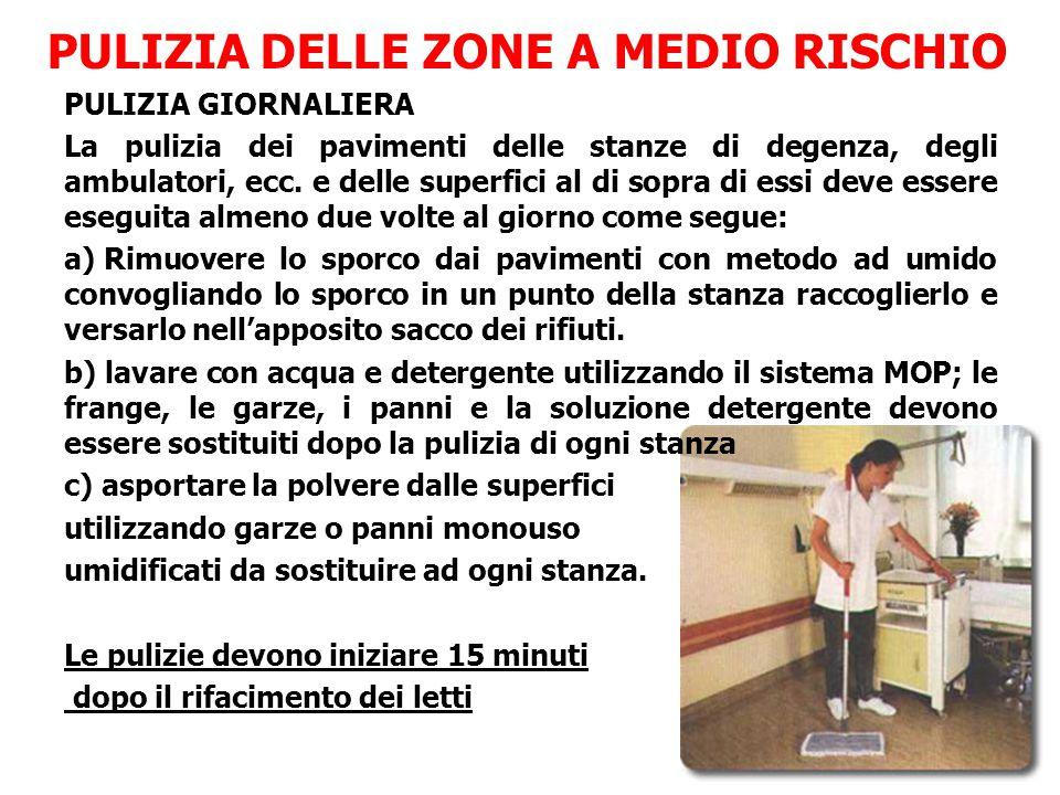 PULIZIA DELLE ZONE A MEDIO RISCHIO PULIZIA GIORNALIERA La pulizia dei pavimenti delle stanze di degenza, degli ambulatori, ecc.