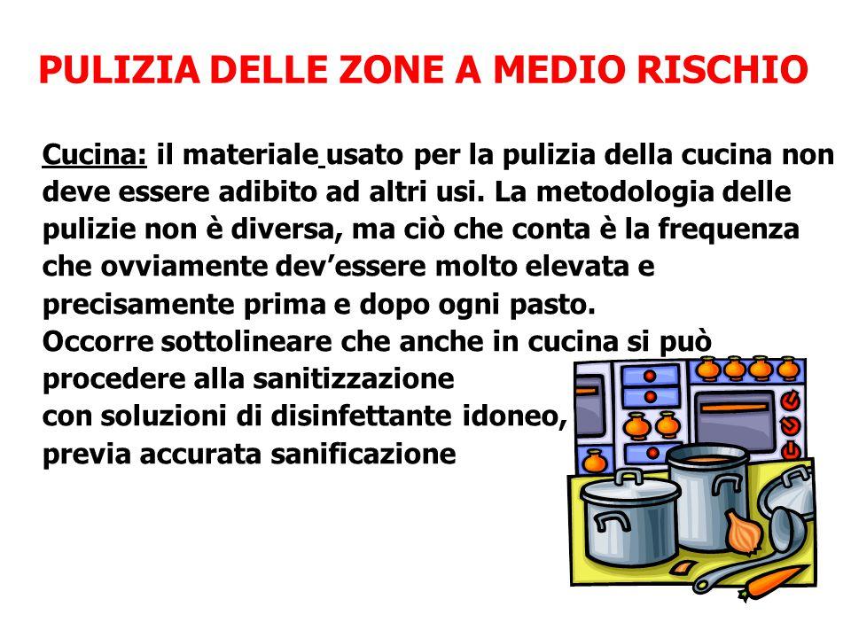 PULIZIA DELLE ZONE A MEDIO RISCHIO Cucina: il materiale usato per la pulizia della cucina non deve essere adibito ad altri usi. La metodologia delle p