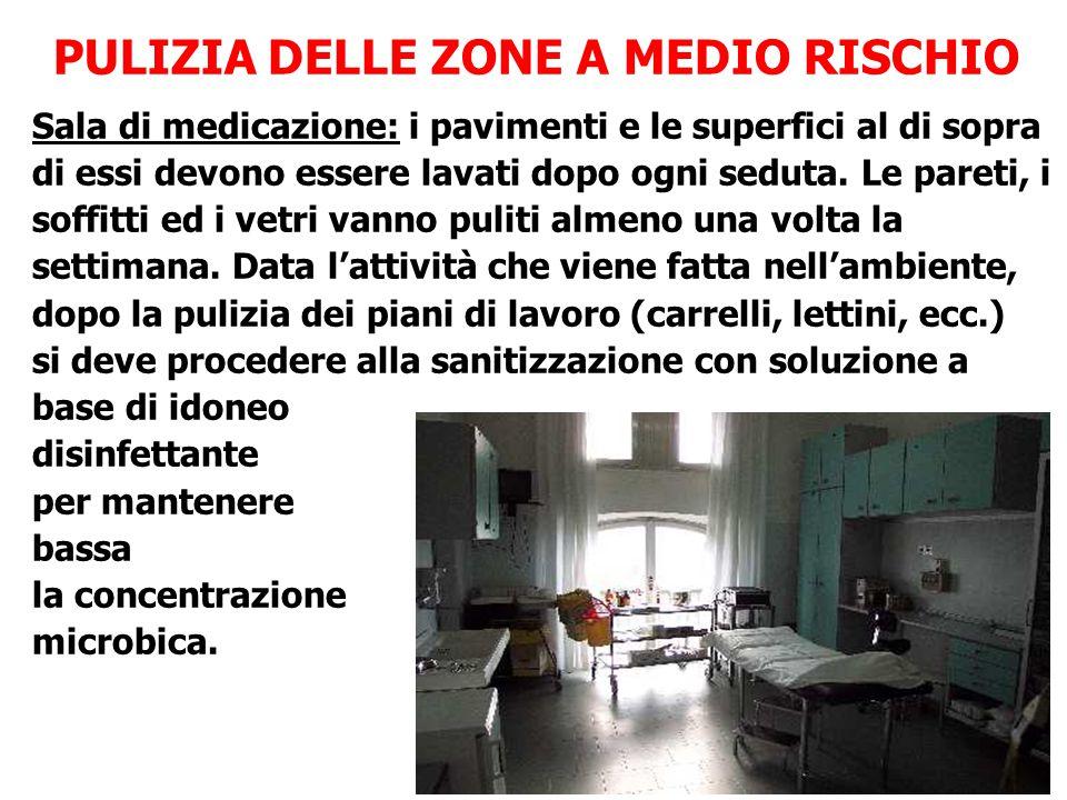 PULIZIA DELLE ZONE A MEDIO RISCHIO Sala di medicazione: i pavimenti e le superfici al di sopra di essi devono essere lavati dopo ogni seduta. Le paret