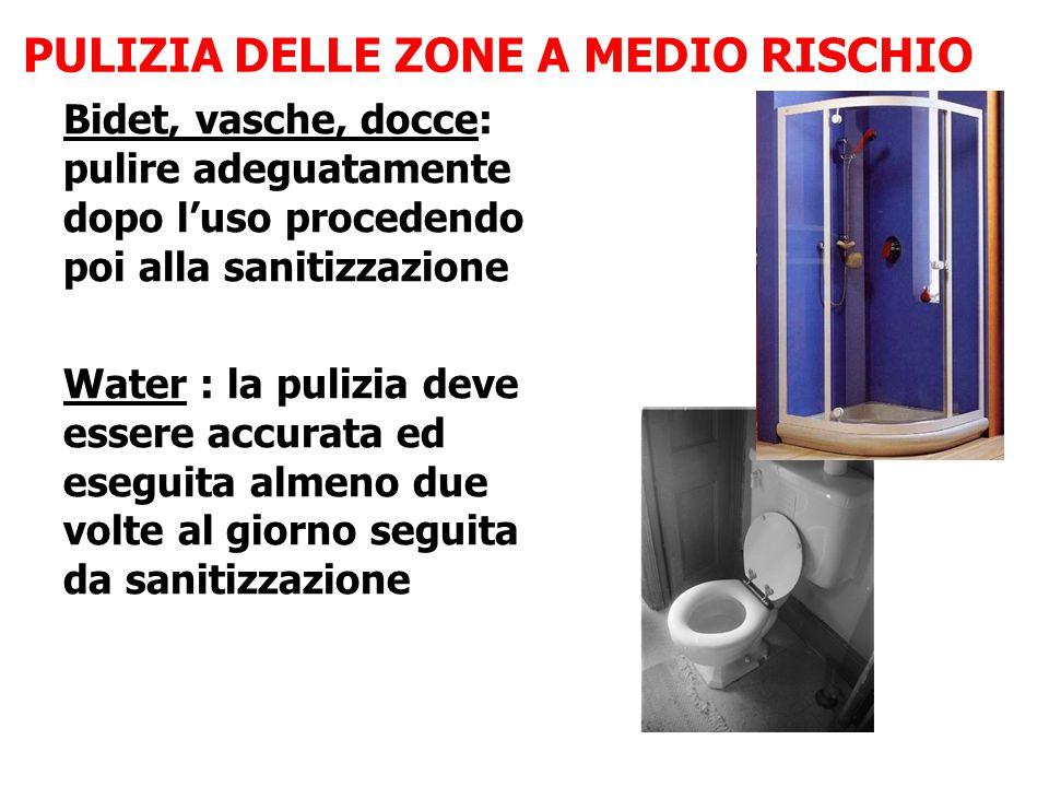 Bidet, vasche, docce: pulire adeguatamente dopo l'uso procedendo poi alla sanitizzazione Water : la pulizia deve essere accurata ed eseguita almeno du