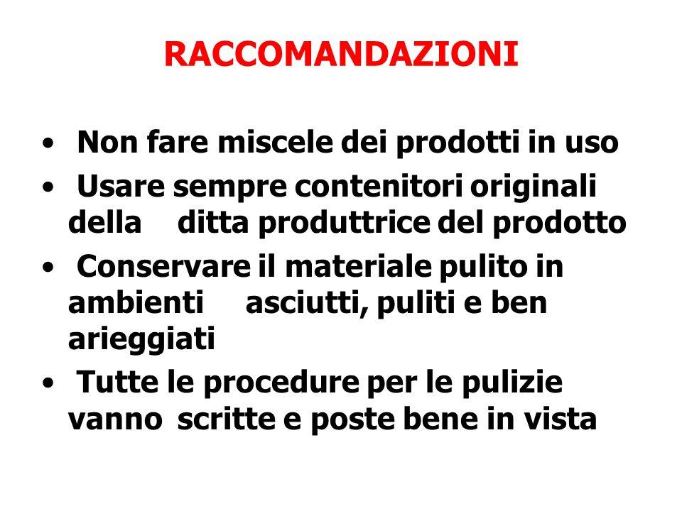 RACCOMANDAZIONI Non fare miscele dei prodotti in uso Usare sempre contenitori originali della ditta produttrice del prodotto Conservare il materiale p
