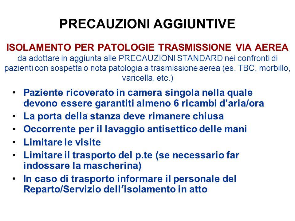 PRECAUZIONI AGGIUNTIVE ISOLAMENTO PER PATOLOGIE TRASMISSIONE VIA AEREA da adottare in aggiunta alle PRECAUZIONI STANDARD nei confronti di pazienti con sospetta o nota patologia a trasmissione aerea (es.