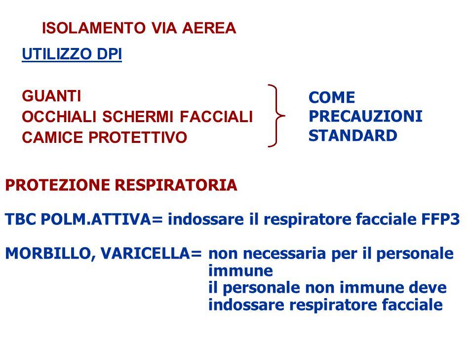 ISOLAMENTO VIA AEREA UTILIZZO DPI GUANTI OCCHIALI SCHERMI FACCIALI CAMICE PROTETTIVO PROTEZIONE RESPIRATORIA TBC POLM.ATTIVA= indossare il respiratore facciale FFP3 MORBILLO, VARICELLA= non necessaria per il personale immune il personale non immune deve indossare respiratore facciale COME PRECAUZIONI STANDARD