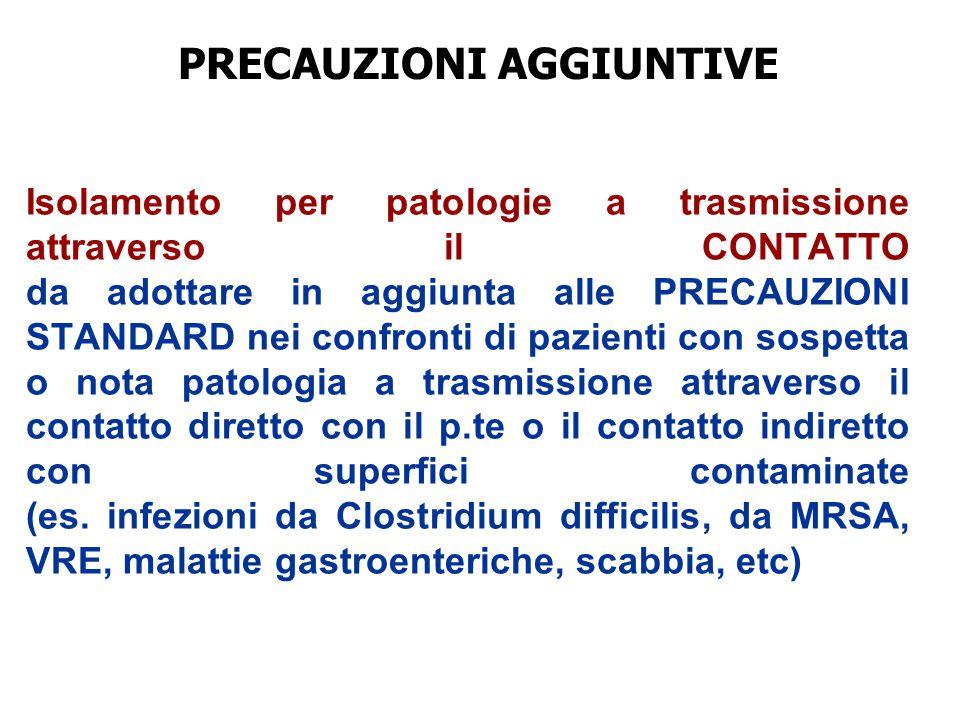 Isolamento per patologie a trasmissione attraverso il CONTATTO da adottare in aggiunta alle PRECAUZIONI STANDARD nei confronti di pazienti con sospett