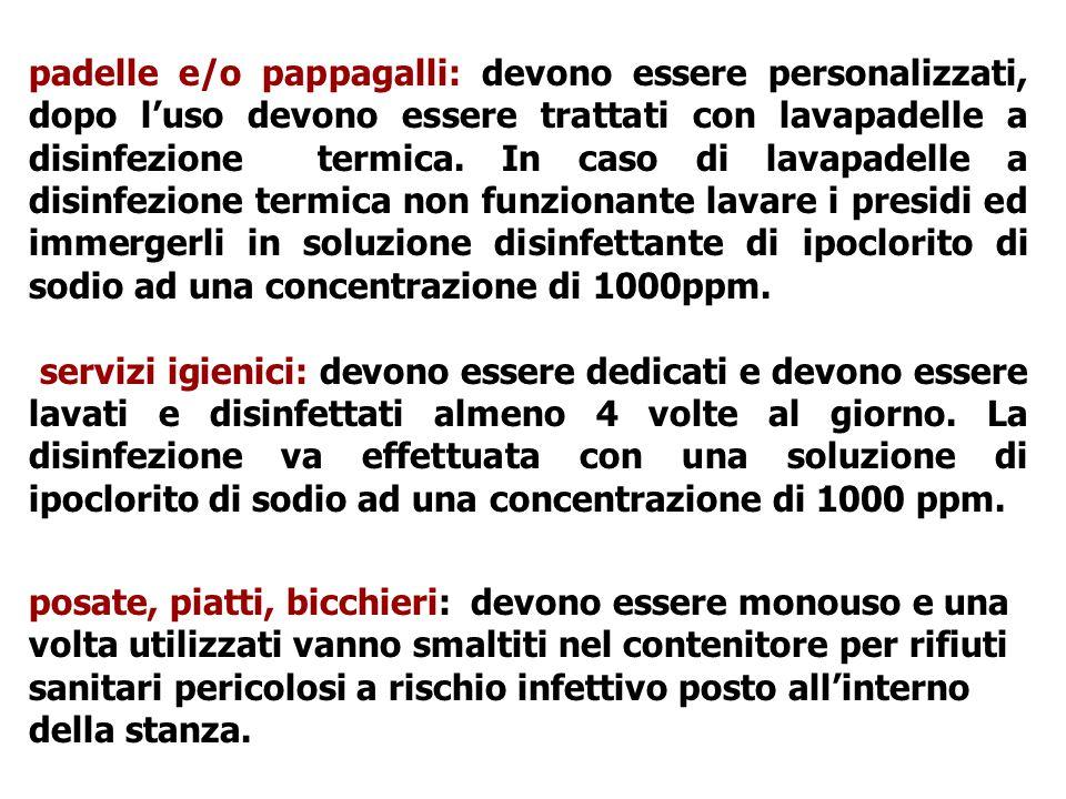 padelle e/o pappagalli: devono essere personalizzati, dopo l'uso devono essere trattati con lavapadelle a disinfezione termica. In caso di lavapadelle