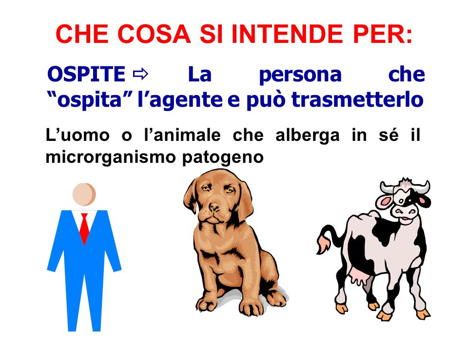 """OSPITE  La persona che """"ospita"""" l'agente e può trasmetterlo L'uomo o l'animale che alberga in sé il microrganismo patogeno CHE COSA SI INTENDE PER:"""