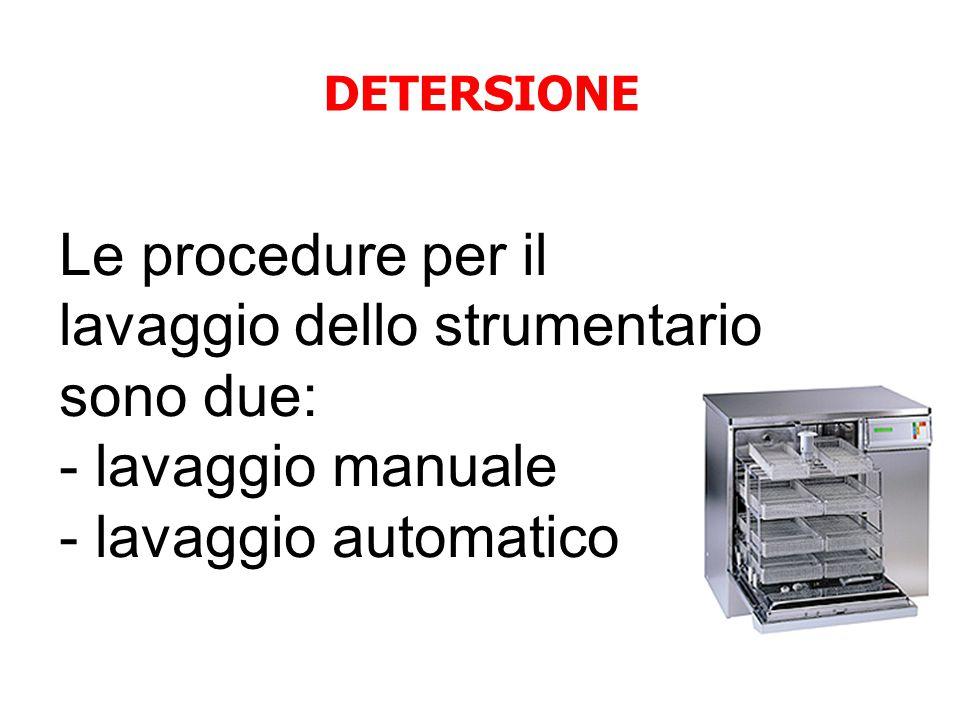 Le procedure per il lavaggio dello strumentario sono due: - lavaggio manuale - lavaggio automatico DETERSIONE