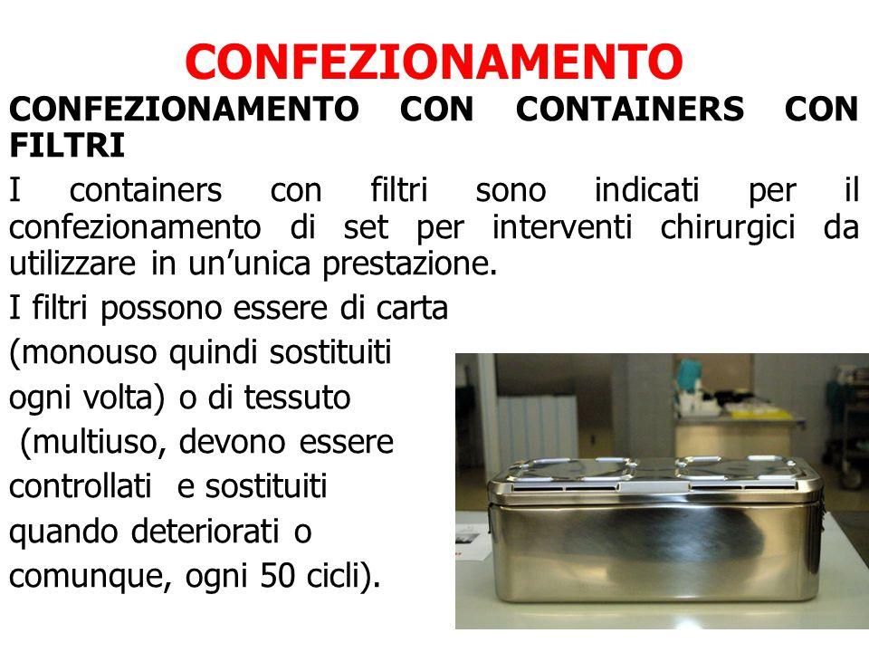 CONFEZIONAMENTO CONFEZIONAMENTO CON CONTAINERS CON FILTRI I containers con filtri sono indicati per il confezionamento di set per interventi chirurgici da utilizzare in un'unica prestazione.