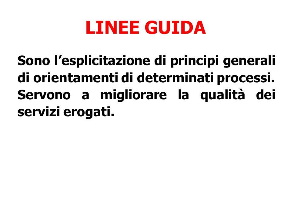 LINEE GUIDA Sono l'esplicitazione di principi generali di orientamenti di determinati processi. Servono a migliorare la qualità dei servizi erogati.