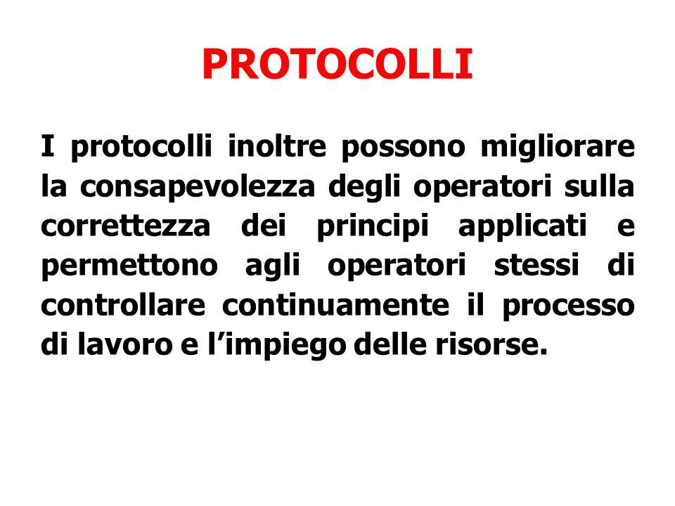 PROTOCOLLI I protocolli inoltre possono migliorare la consapevolezza degli operatori sulla correttezza dei principi applicati e permettono agli operatori stessi di controllare continuamente il processo di lavoro e l'impiego delle risorse.