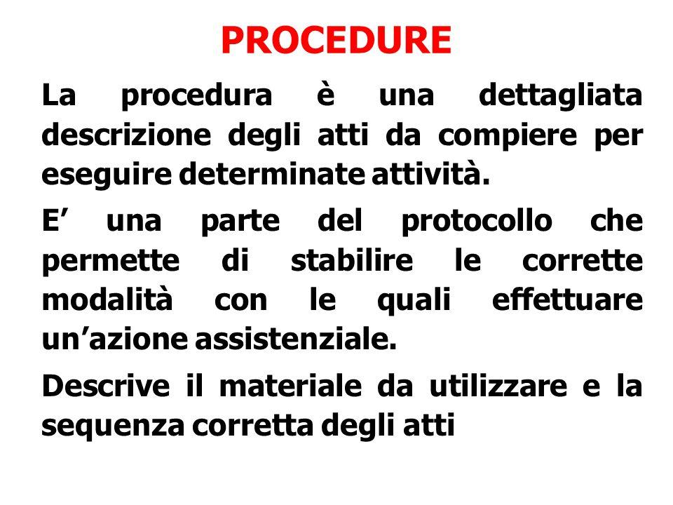 La procedura è una dettagliata descrizione degli atti da compiere per eseguire determinate attività. E' una parte del protocollo che permette di stabi