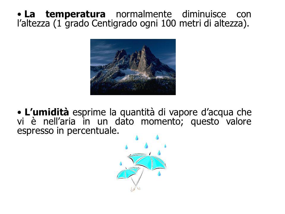 La temperatura normalmente diminuisce con l'altezza (1 grado Centigrado ogni 100 metri di altezza). L'umidità esprime la quantità di vapore d'acqua ch