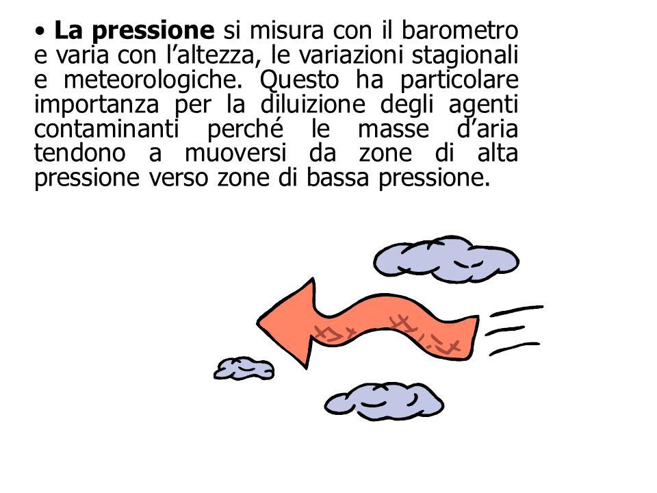 La pressione si misura con il barometro e varia con l'altezza, le variazioni stagionali e meteorologiche. Questo ha particolare importanza per la dilu