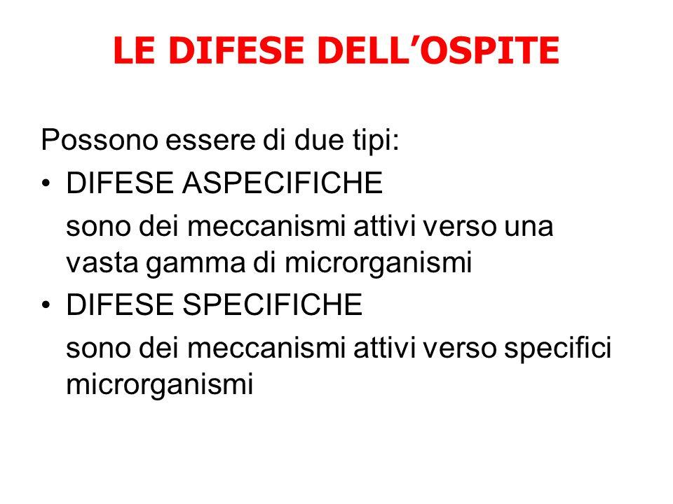 LE DIFESE DELL'OSPITE Possono essere di due tipi: DIFESE ASPECIFICHE sono dei meccanismi attivi verso una vasta gamma di microrganismi DIFESE SPECIFICHE sono dei meccanismi attivi verso specifici microrganismi