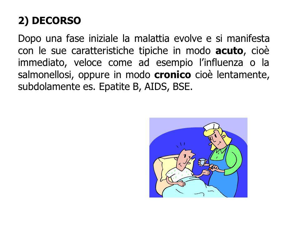 2) DECORSO Dopo una fase iniziale la malattia evolve e si manifesta con le sue caratteristiche tipiche in modo acuto, cioè immediato, veloce come ad esempio l'influenza o la salmonellosi, oppure in modo cronico cioè lentamente, subdolamente es.