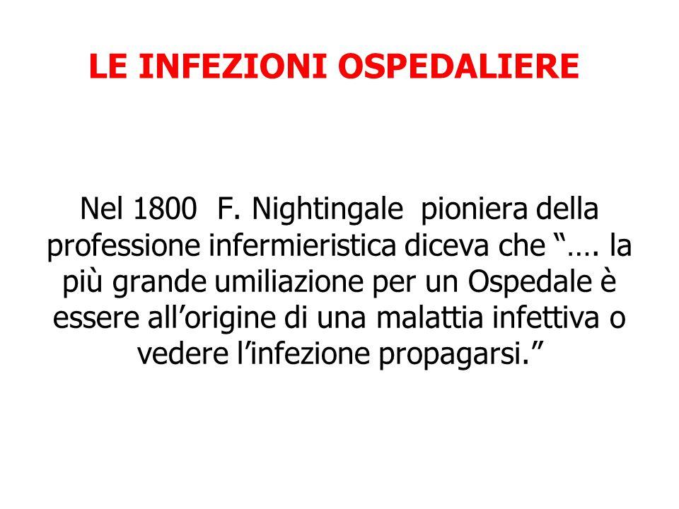 """Nel 1800 F. Nightingale pioniera della professione infermieristica diceva che """"…. la più grande umiliazione per un Ospedale è essere all'origine di un"""