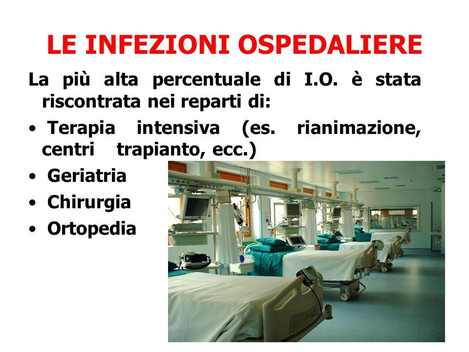 LE INFEZIONI OSPEDALIERE La più alta percentuale di I.O. è stata riscontrata nei reparti di: Terapia intensiva (es. rianimazione, centri trapianto, ec