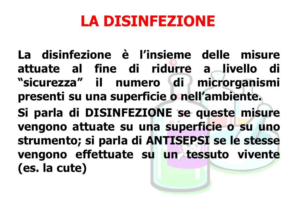 La disinfezione è l'insieme delle misure attuate al fine di ridurre a livello di sicurezza il numero di microrganismi presenti su una superficie o nell'ambiente.