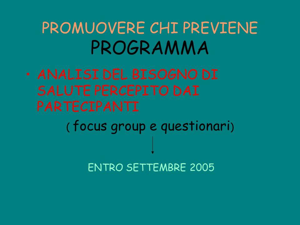 ANALISI DEL BISOGNO DI SALUTE PERCEPITO DAI PARTECIPANTI ( focus group e questionari ) PROMUOVERE CHI PREVIENE PROGRAMMA ENTRO SETTEMBRE 2005