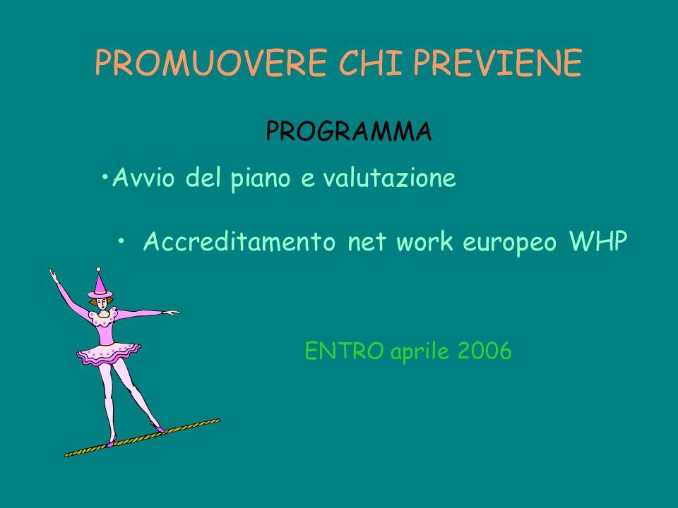 PROMUOVERE CHI PREVIENE Accreditamento net work europeo WHP ENTRO aprile 2006 PROGRAMMA Avvio del piano e valutazione