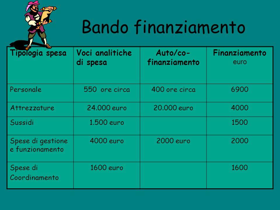 Bando finanziamento Tipologia spesaVoci analitiche di spesa Auto/co- finanziamento Finanziamento euro Personale550 ore circa400 ore circa6900 Attrezza