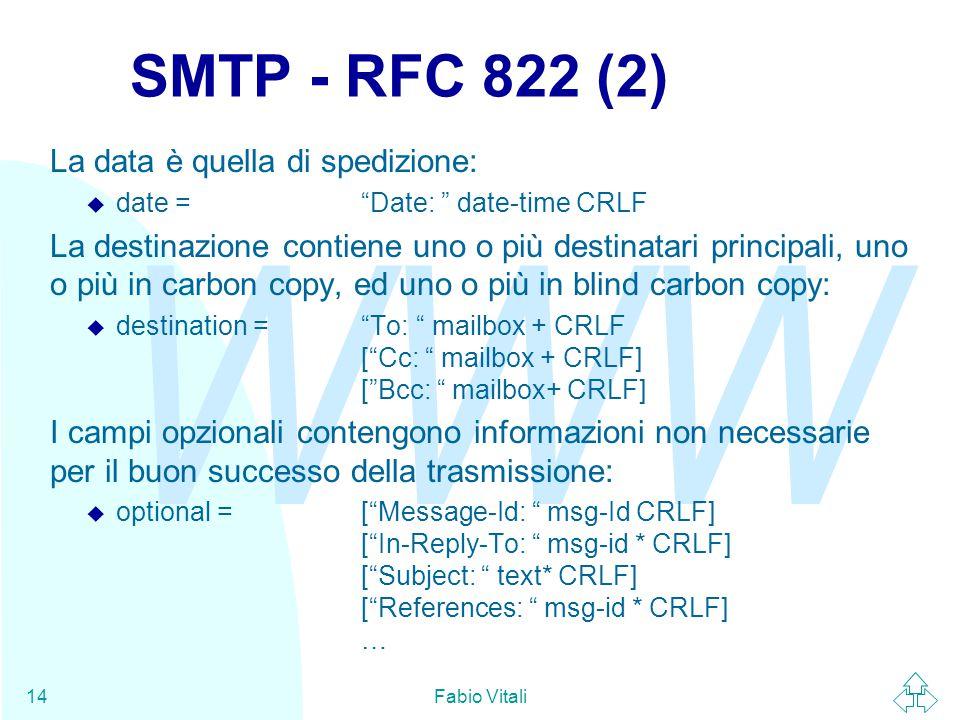 WWW Fabio Vitali14 SMTP - RFC 822 (2) La data è quella di spedizione:  date = Date: date-time CRLF La destinazione contiene uno o più destinatari principali, uno o più in carbon copy, ed uno o più in blind carbon copy:  destination = To: mailbox + CRLF [ Cc: mailbox + CRLF] [ Bcc: mailbox+ CRLF] I campi opzionali contengono informazioni non necessarie per il buon successo della trasmissione:  optional = [ Message-Id: msg-Id CRLF] [ In-Reply-To: msg-id * CRLF] [ Subject: text* CRLF] [ References: msg-id * CRLF] …