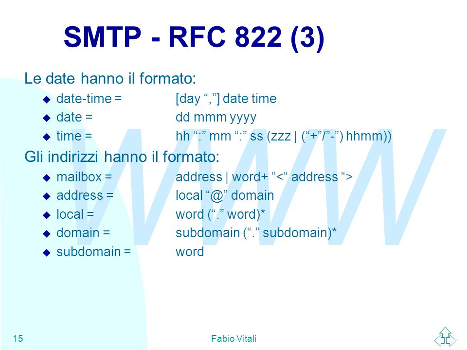 WWW Fabio Vitali15 SMTP - RFC 822 (3) Le date hanno il formato:  date-time =[day , ] date time  date =dd mmm yyyy  time =hh : mm : ss (zzz | ( + / - ) hhmm)) Gli indirizzi hanno il formato:  mailbox =address | word+  address =local @ domain  local =word ( . word)*  domain =subdomain ( . subdomain)*  subdomain =word