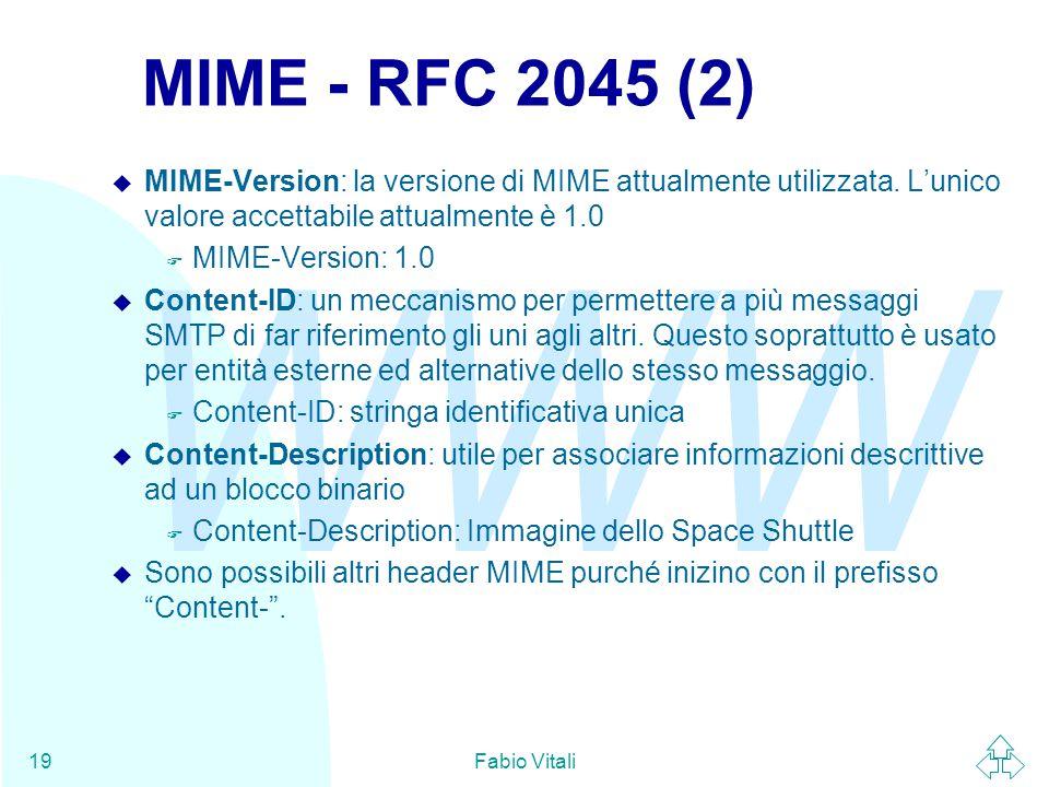 WWW Fabio Vitali19 MIME - RFC 2045 (2) u MIME-Version: la versione di MIME attualmente utilizzata.