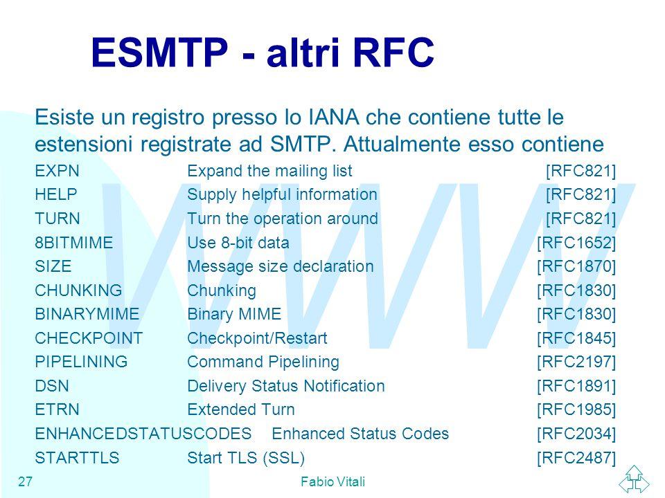 WWW Fabio Vitali27 ESMTP - altri RFC Esiste un registro presso lo IANA che contiene tutte le estensioni registrate ad SMTP.