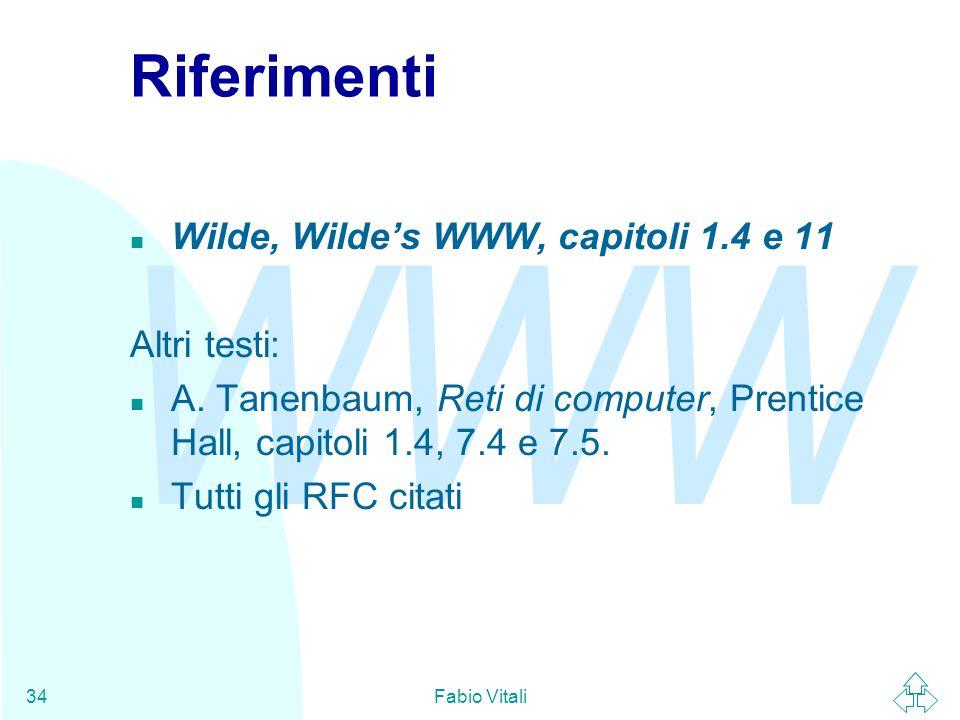 WWW Fabio Vitali34 Riferimenti n Wilde, Wilde's WWW, capitoli 1.4 e 11 Altri testi: n A.