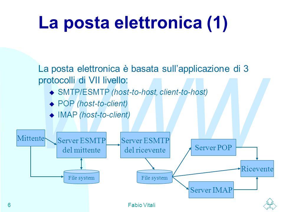 WWW Fabio Vitali6 La posta elettronica (1) La posta elettronica è basata sull'applicazione di 3 protocolli di VII livello: u SMTP/ESMTP (host-to-host, client-to-host) u POP (host-to-client) u IMAP (host-to-client) Server ESMTP del mittente Mittente Server ESMTP del ricevente File system Server POP Server IMAP Ricevente
