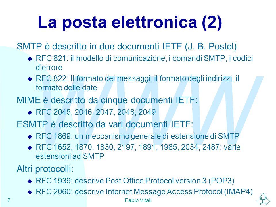 WWW Fabio Vitali7 La posta elettronica (2) SMTP è descritto in due documenti IETF (J.
