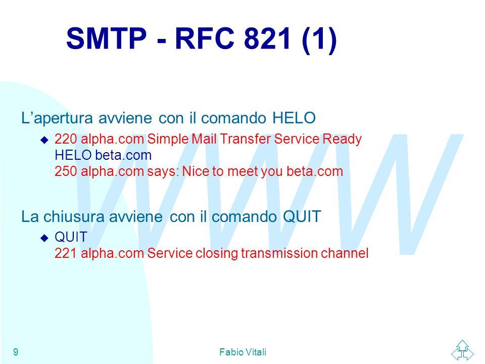 WWW Fabio Vitali9 SMTP - RFC 821 (1) L'apertura avviene con il comando HELO  220 alpha.com Simple Mail Transfer Service Ready HELO beta.com 250 alpha.com says: Nice to meet you beta.com La chiusura avviene con il comando QUIT  QUIT 221 alpha.com Service closing transmission channel