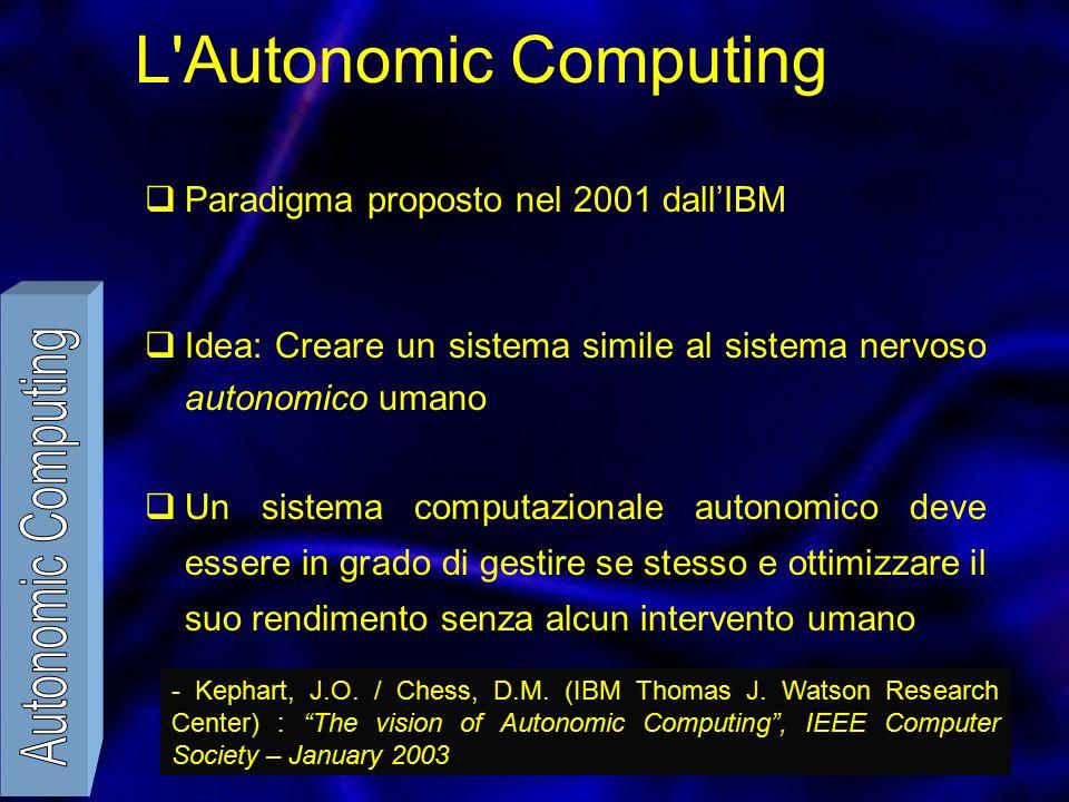 L Autonomic Computing  Paradigma proposto nel 2001 dall'IBM  Idea: Creare un sistema simile al sistema nervoso autonomico umano  Un sistema computazionale autonomico deve essere in grado di gestire se stesso e ottimizzare il suo rendimento senza alcun intervento umano - Kephart, J.O.
