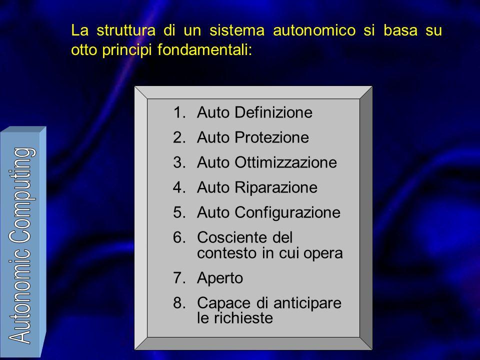 La struttura di un sistema autonomico si basa su otto principi fondamentali: 1.Auto Definizione 2.Auto Protezione 3.Auto Ottimizzazione 4.Auto Riparazione 5.Auto Configurazione 6.Cosciente del contesto in cui opera 7.Aperto 8.Capace di anticipare le richieste