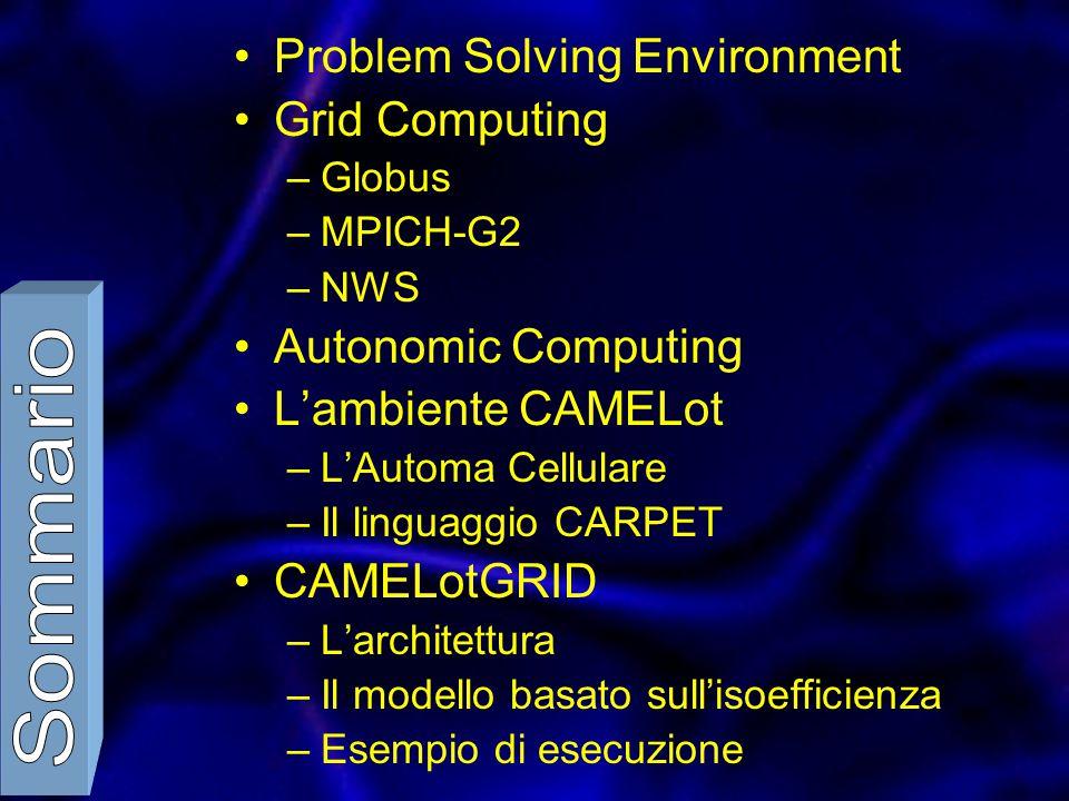 Problem Solving Environment Grid Computing –Globus –MPICH-G2 –NWS Autonomic Computing L'ambiente CAMELot –L'Automa Cellulare –Il linguaggio CARPET CAMELotGRID –L'architettura –Il modello basato sull'isoefficienza –Esempio di esecuzione