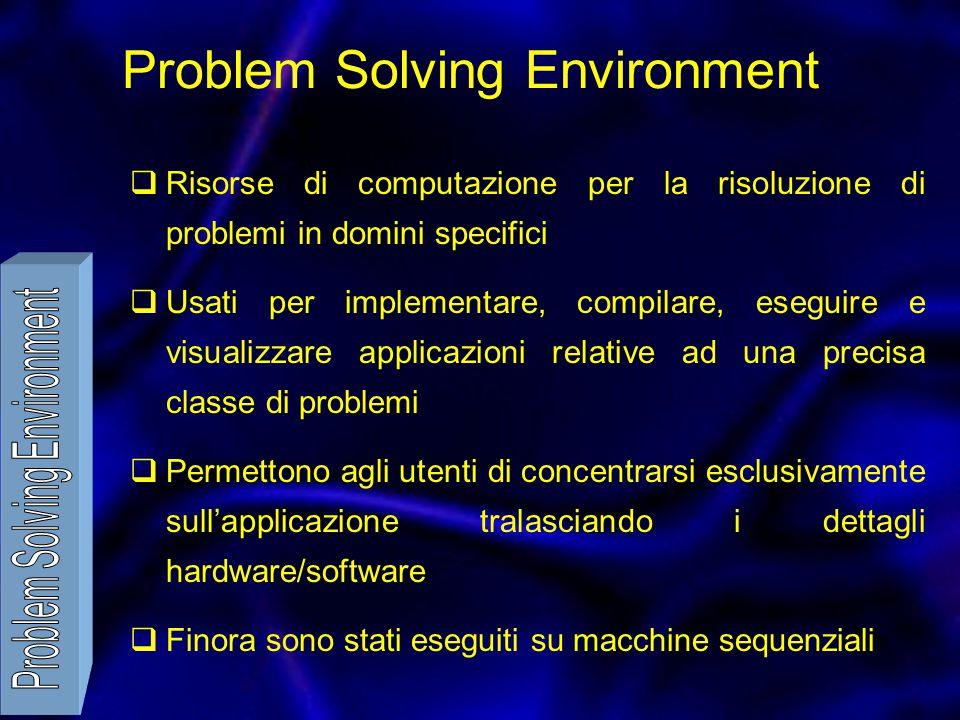 Problem Solving Environment  Risorse di computazione per la risoluzione di problemi in domini specifici  Usati per implementare, compilare, eseguire