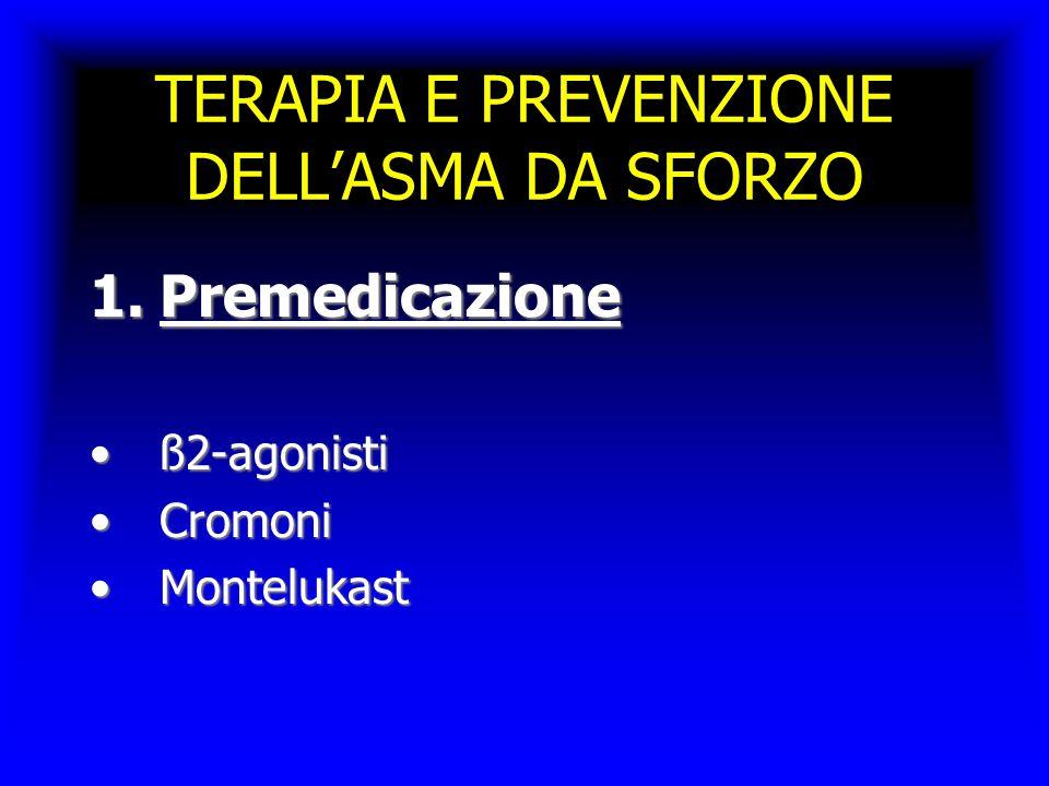 TERAPIA E PREVENZIONE DELL'ASMA DA SFORZO 1.Premedicazione ß2-agonistiß2-agonisti CromoniCromoni MontelukastMontelukast