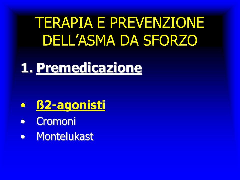 TERAPIA E PREVENZIONE DELL'ASMA DA SFORZO 1.Premedicazione ß2-agonisti CromoniCromoni MontelukastMontelukast